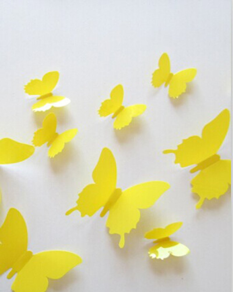 Amazon.com: DIY 3d Butterfly Wall Decor (Yellow): Home & Kitchen