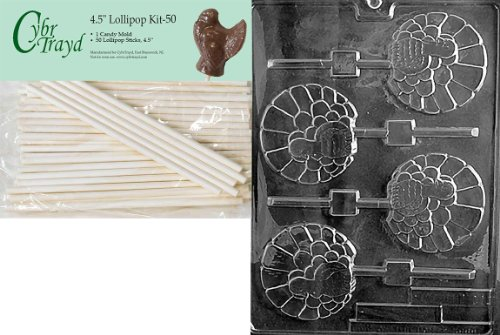 Cybrtrayd 45St50-T011 Fancy Turkey Lolly Thanksgiving Chocolate Candy Mold with 50-Pack 4.5-Inch Lollipop Sticks ()