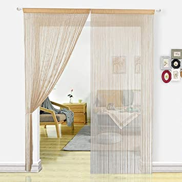 HSYLYM Door Curtains for Kitchen Window Curtains Room Divider Room Decor  Fringe Thread Curtain Fly Screen for Living Room(100x200, Beige)