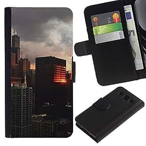Reflexión del edificio City View- la tarjeta de Crédito Slots PU Funda de cuero Monedero caso cubierta de piel Para Samsung Galaxy S3 III i9300 i747