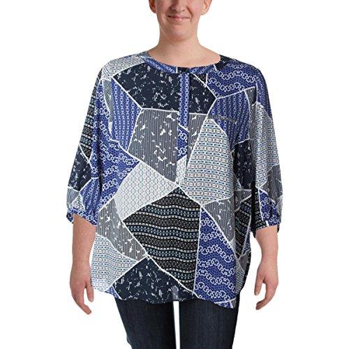 NYDJ Women's Plus Size 3/4 Sleeve Henley Pleat Back Blouse, Cote d'Azur Patchwork Blue, 3X