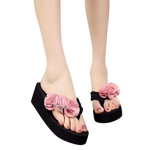c8e53f7dcd5 Women s Boho Flowers Wedge Platform Sandals Flip Flops Shoes Summer Casual  Outdoor Slippers (Pink