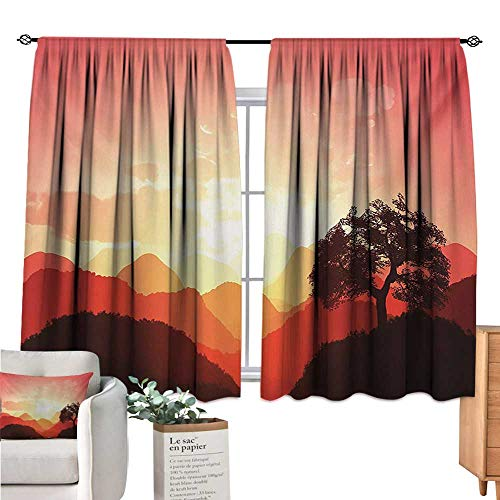 (Warm Family Mystic Small Window Curtain Magical Oriental Sunset View with Tree and Mountains Mystique Hills Coral Orange Dark Brown Light Curtain W63 x L63)