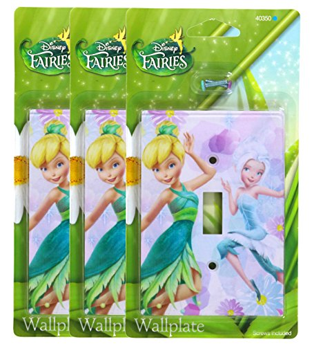 Lavender Faceplates (Disney Fairies Tinkerbell And Periwinkle Wallplate - 3 Pack)