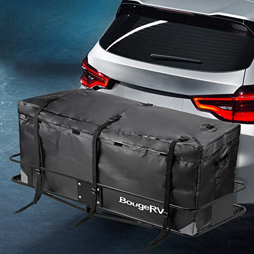 - BougeRV Hitch Cargo Carrier Bag Waterproof/Rainproof Hitch Mount Cargo Bag for Car Truck SUV Vans Hitch Trays and Hitch Baskets (48' L' x 20'' W x 22'' H)