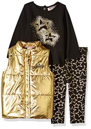 Juicy Couture Baby Girls 3 Pieces Puff Vest Set, Gold/Black, - Janie Jack