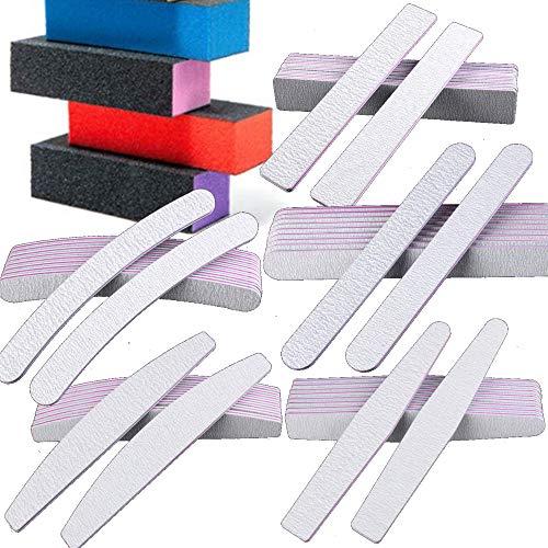 Precision Nail File Buff Kit VBA Professional 14 Piece Salon Grade 80/80 Zebra Acrylic Gel Nail Care Manicure Pedicure ()