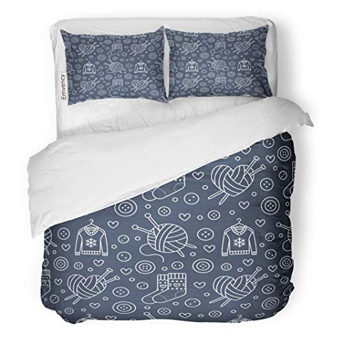 Semtomn Decor Duvet Cover Set Full/Queen Size Knitting Sewing Cute Flat Line of Hand Made Equipment 3 Piece Brushed Microfiber Fabric Print Bedding Set Cover -