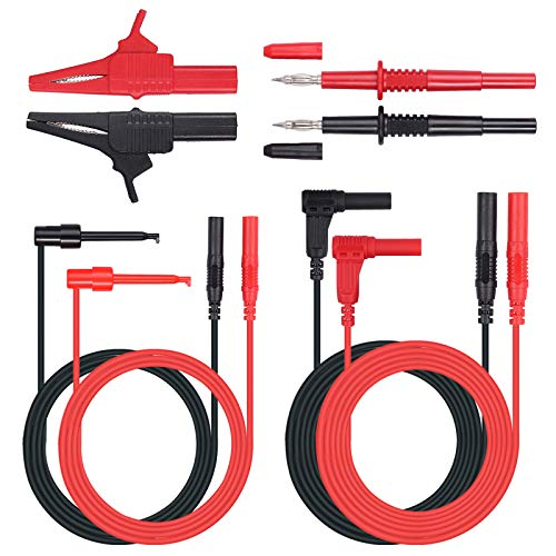 Proster 8 Pieces Multimeter Test Lead Kit Multimeter Accessory Kit Electronic Probe Includes Test Lead Extensions Test Probes Mini Hooks Alligator Clips