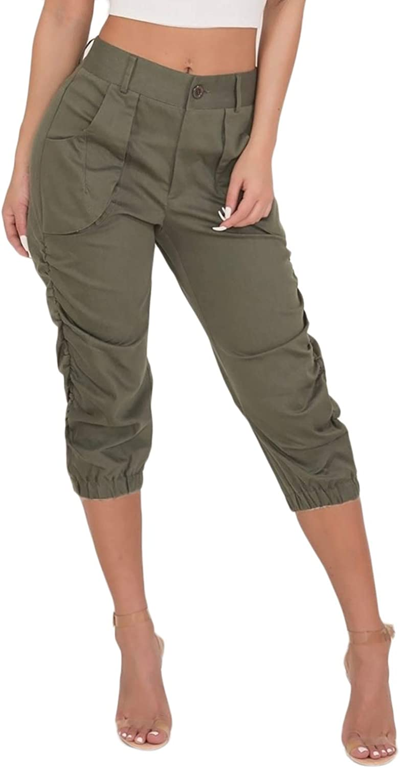 Womens Relaxed-Fit Cargo Capri Pants Loose Athletic Cropped Pants Solid  Trousers with Utility Pockets Plus Size