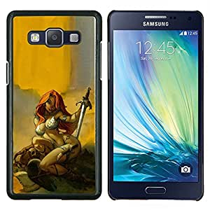 Dragon Case - FOR Samsung Galaxy A5 A5000 A5009 - red sword hero sexy redhead yellow - Caja protectora de pl??stico duro de la cubierta Dise?¡Ào Slim Fit