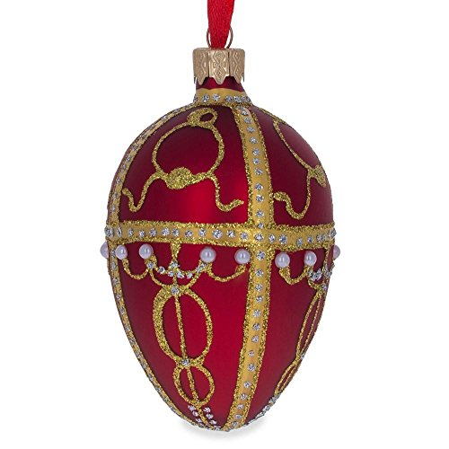 BestPysanky 1895 Rosebud Royal Egg Glass Ornament for sale  Delivered anywhere in USA
