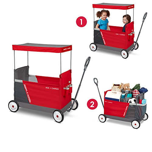 Radio Flyer Kid & Cargo with Canopy, Folding Wagon with 2 Versatile Seats, Red by Radio Flyer (Image #1)