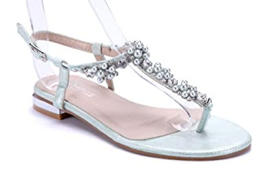 Schuhtempel24 Damen Schuhe Zehentrenner Sandalen Sandaletten Grün Flach Ziersteine 27cn4