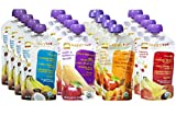 Happy Tot Organic Superfoods Stage 4, 4.22 OZ Baby Food Pouches Variety Pack of 16 (Banana Peach Prunes Coconut, Apple and Butternut Squash, Sweet Potato Apple Carrots Cinnamon, and Banana Mango & Peach)