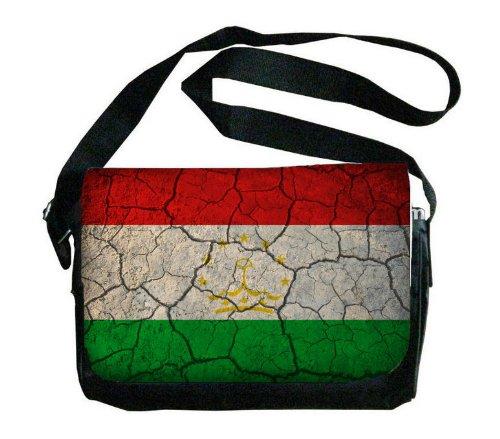 Tajikistan Flag Crackled Design Messenger Bag