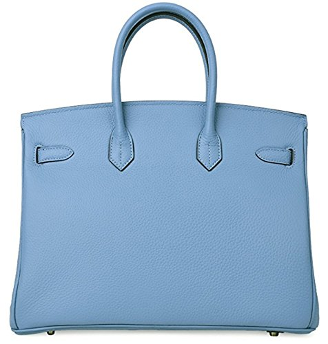 Women's Classic Handbags Genuine Classic Padlock Blue Sea Women's Leather Tote FfqwF