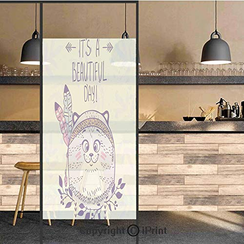 3D Decorative Privacy Window Films,Stylish Native American Indian Hippie Cat with Ethnic Tribal Feathers Artsy Cartoon,No-Glue Self Static Cling Glass film for Home Bedroom Bathroom Kitchen Office 24x