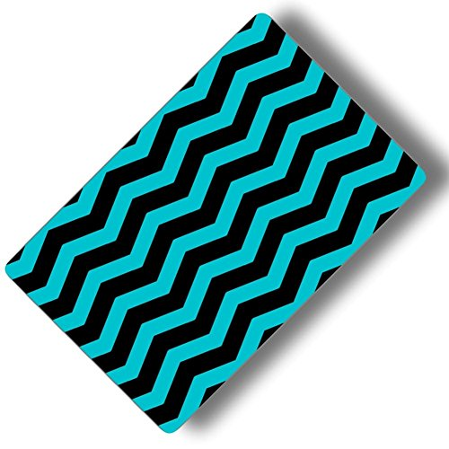 Custom & Decorative {16'' x 10'' Inch} 1 Single, Large ''Gaming'' Flexible Non-Slip Mousepad for Gaming, Made Of Easy-Glide Neoprene w/ Neon Plain Chevron Line Patterns Design [Black & Teal] by mySimple Products