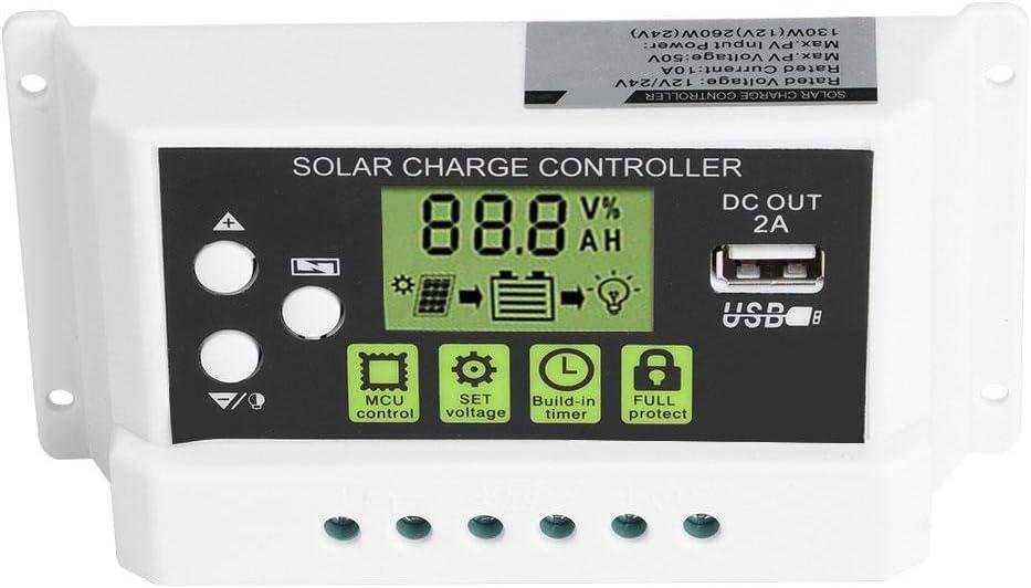 12V 24V 10//20//30A PWM Salida USB de Visualizaci/ón LCD Controlador Inteligente de Carga Solar KYZ-20A