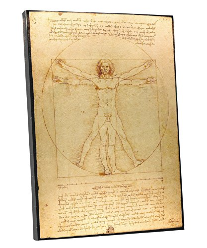 Reproduction Painting Framed Oil 24 (Niwo ART (TM) - Vitruvian Man, by Leonardo DaVinci, Oil painting Reproduction - Giclee Wall Art for Home Decor, Gallery Wrapped, Stretched, Framed Ready to Hang (24