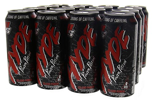 Hyde Power Potion Energy Drink, 350 mg Caffeine, Plus TeaCrine, Carnitine, BCAA, CoQ10 & Citrulline, 16 oz, Great Tasting, Carbonated, 12 count (Island Punch Flavor) by PRO SUPPS