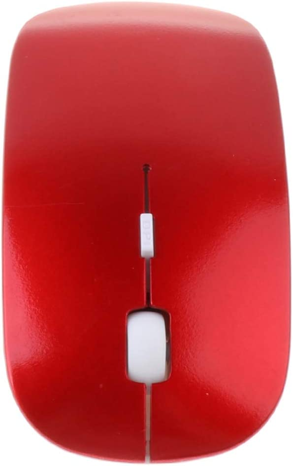 Almencla 2.4GHz Wireless Optical Mouse Bluetooth 2.0 Compatible with Notebook Red PC 110mm Laptop