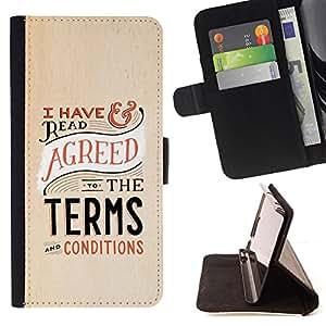 BullDog Case - FOR/Samsung Galaxy S4 IV I9500 / - / TERMS CONDITIONS LAWYER FUNNY LAW /- Monedero de cuero de la PU Llevar cubierta de la caja con el ID Credit Card Slots Flip funda de cuer