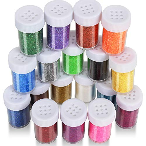 18 Pack Glitter Powder for Slime, LEOBRO Slime Glitter, Multi Assorted Set Extra Fine Glitter Shake Jars for Slime, Arts & Crafts, Scrapbook, Nail, Body, Face, Eyeshadow Arts, 15g/ Bottle, Total 270g