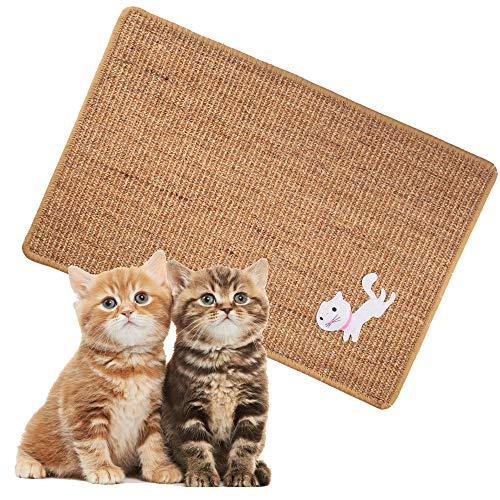 Cat Scratching Mat, Natural Sisal Cat Scratch Mat, Anti Slip Cat Scratcher Pad for Carpet Sofa Couch Rug Protecting (23.6