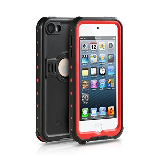 Waterproof Case for iPod 5 6, Merit Knight Series Waterproof Shockproof Dirtproof Snowproof Case Cover with Kickstand for Apple iPod Touch 5th/6th Generation (Red) (Apple Ipod Red)