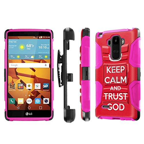 LG G Stylo [LS770 H631] Armor Case [NakedShield] [Black/Pink] Heavy Duty Armor [Holster with Kickstand] Phone Case - [Keep Calm and Trust God] for LG G Stylo LS770 -  NakedShield for LG G Stylo, P-LGLS770-1E7-BKHP-CBT-N453