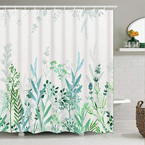 Likiyol Watercolor Floral Shower Curtain, Blue and Green Shower Curtain Teal and White Shower Curtains, Rustic Spring Shower Curtain with 12 Hooks, Waterproof Fabric Shower Curtains for Bathroom