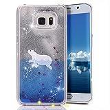 Galaxy S6 Edge Plus Case, Crazy Panda Samsung Galaxy S6 Edge Plus 3D Creative Design Flowing Liquid Floating Bling Glitter Sparkle Star Crystal Clear Case Cover for S6 Edge Plus - Polar Bear