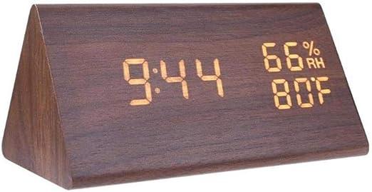 ZMCW Relojes de Alarma LED de Madera Reloj de Mesa electrónico ...