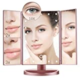 Cheap Lighted Makeup Mirror with 10X/3X/2X/1X Magnification, Trifold Vanity Mirror with 22 LED Lights, 180° Free Rotation & Touch Screen Control, Dual Power Supply Travel Countertop Cosmetic Mirror