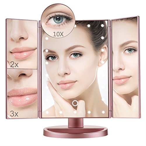 Lighted Makeup Mirror with 10X/3X/2X/1X Magnification, Trifold Vanity Mirror with 22 LED Lights, 180° Free Rotation & Touch Screen Control, Dual Power Supply Travel Countertop Cosmetic Mirror