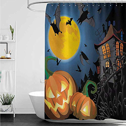 home1love Funny Shower Curtain,Halloween Gothic Halloween Haunted House Party Theme Design Trick or Treat for Kids Print,Polyester Fabric Waterproof,W47x63L,Multicolor