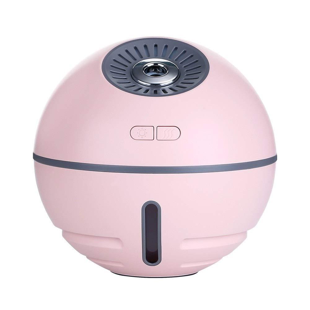 Humidificador, difusor de aromaterapia 300 ml Difusores de Aroma 4 en 1 multifuncionales (Banco de Potencia, Luces LED, Mini Ventilador) Apagado automático sin Agua, (Color : Pink)