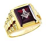 Men's 10k Yellow Gold Freemason Red CZ Stone Square and Compass Masonic Ring