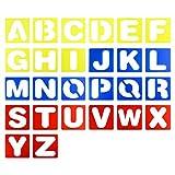 26 Pieces 4-Inch Plastic Letter Stencil Alphabet Stencils Set for Kids Painting Learning DIY, Multicolor