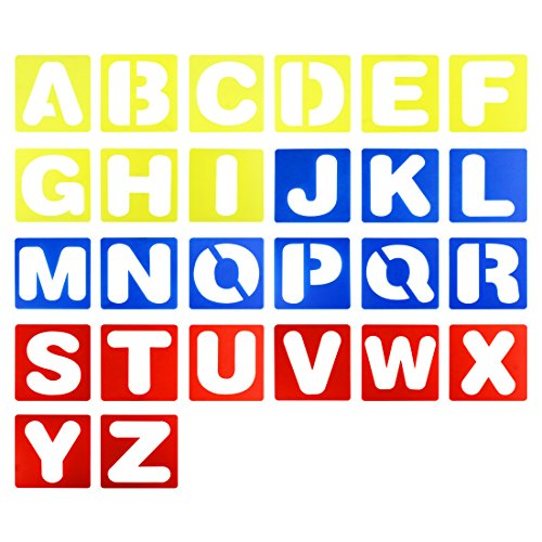 26 Pieces 4-Inch Plastic Letter Stencil Alphabet Stencils Set for Kids Painting Learning DIY, Multicolor