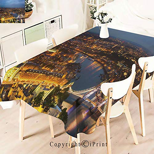 Party Decorations Polyester Tablecloth,London England Cityscape Night Lights and,Waterproof Stain Resistant Table Topper,W55 xL71,Yellow Bluegrey ()
