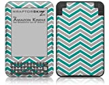 Zig Zag Teal and Gray - Decal Style Skin fits Amazon Kindle 3 Keyboard (with 6 inch display)