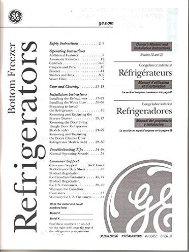 ge general electric bottom freezer refrigerator models 20 and 22 rh amazon com Manual for Frigidaire Refrigerator Repair GE Mini Fridge Manual
