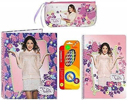 Disney Violetta carpeta, bloque, estuche y STABILO lápices de colores, color rosa: Amazon.es: Oficina y papelería