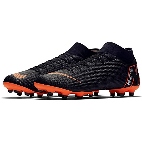 NIKE Mercurial Superfly VI Academy Multi-Ground Soccer Cleat (9.5) Black/Total,Orange by NIKE