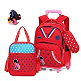 Large Capacity Trolley Bag Boy Girl Primary School (6-12 Years Old) Waterproof Nylon Backpack Detachable Three-Wheeled Trolley Backpack Decompression Ridge Can Climb Stairs (Suitable For Grades 3-6),Red