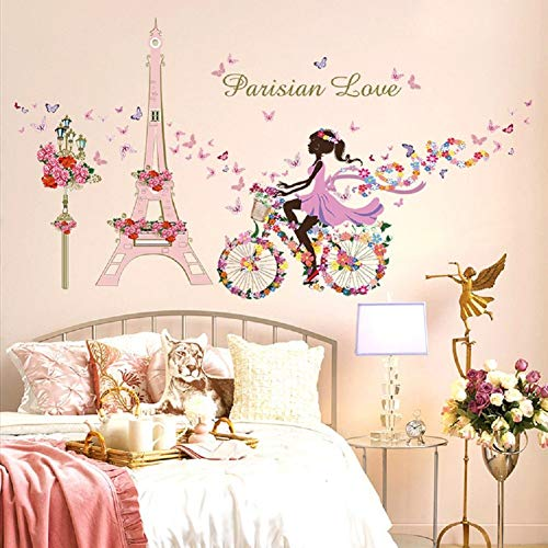 SWORNA Nature Series Paris Eiffel Tower Street Lamp Flower Butterfly Girl on Bicycle Removable Vinyl Wall Art Mural Sticker Decal Decor for Living/Bedroom /Hallway/Kindergarten/Home Office 31
