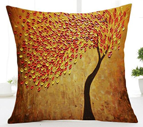 QINU KEONU Oil Painting Black Large Tree and Flower Birds Cotton Linen Throw Pillow Case Cushion Cover Home Sofa Decorative 18 X 18 Inch ()